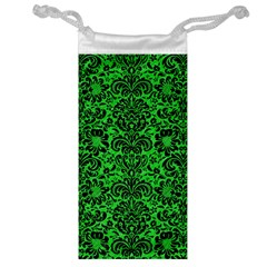 Damask2 Black Marble & Green Colored Pencil (r) Jewelry Bag