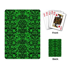 Damask2 Black Marble & Green Colored Pencil (r) Playing Card