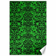 Damask2 Black Marble & Green Colored Pencil (r) Canvas 12  X 18