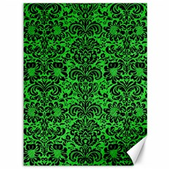 Damask2 Black Marble & Green Colored Pencil (r) Canvas 36  X 48