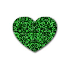 Damask2 Black Marble & Green Colored Pencil (r) Rubber Coaster (heart)