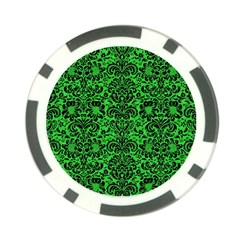 Damask2 Black Marble & Green Colored Pencil (r) Poker Chip Card Guard