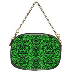 Damask2 Black Marble & Green Colored Pencil (r) Chain Purses (one Side)