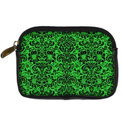 Damask2 Black Marble & Green Colored Pencil (r) Digital Camera Cases