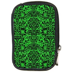Damask2 Black Marble & Green Colored Pencil (r) Compact Camera Cases