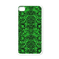 Damask2 Black Marble & Green Colored Pencil (r) Apple Iphone 4 Case (white)