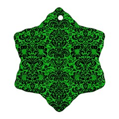 Damask2 Black Marble & Green Colored Pencil (r) Snowflake Ornament (two Sides)