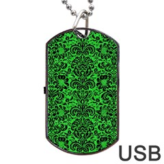 Damask2 Black Marble & Green Colored Pencil (r) Dog Tag Usb Flash (one Side)