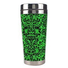 Damask2 Black Marble & Green Colored Pencil (r) Stainless Steel Travel Tumblers