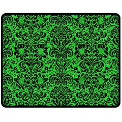 Damask2 Black Marble & Green Colored Pencil (r) Double Sided Fleece Blanket (medium)