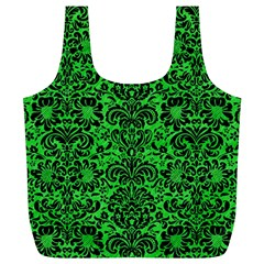 Damask2 Black Marble & Green Colored Pencil (r) Full Print Recycle Bags (l)