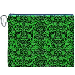 Damask2 Black Marble & Green Colored Pencil (r) Canvas Cosmetic Bag (xxxl)
