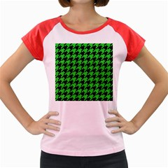 Houndstooth1 Black Marble & Green Colored Pencil Women s Cap Sleeve T Shirt