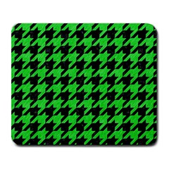 Houndstooth1 Black Marble & Green Colored Pencil Large Mousepads