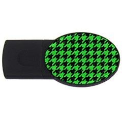 Houndstooth1 Black Marble & Green Colored Pencil Usb Flash Drive Oval (2 Gb)