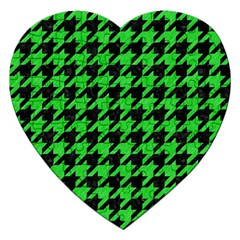 Houndstooth1 Black Marble & Green Colored Pencil Jigsaw Puzzle (heart)