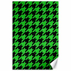 Houndstooth1 Black Marble & Green Colored Pencil Canvas 24  X 36