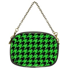Houndstooth1 Black Marble & Green Colored Pencil Chain Purses (one Side)