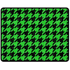 Houndstooth1 Black Marble & Green Colored Pencil Fleece Blanket (medium)
