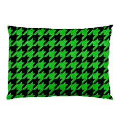 Houndstooth1 Black Marble & Green Colored Pencil Pillow Case (two Sides)