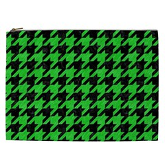 Houndstooth1 Black Marble & Green Colored Pencil Cosmetic Bag (xxl)