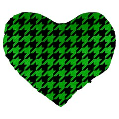 Houndstooth1 Black Marble & Green Colored Pencil Large 19  Premium Heart Shape Cushions