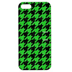 Houndstooth1 Black Marble & Green Colored Pencil Apple Iphone 5 Hardshell Case With Stand