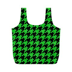 Houndstooth1 Black Marble & Green Colored Pencil Full Print Recycle Bags (m)