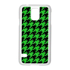Houndstooth1 Black Marble & Green Colored Pencil Samsung Galaxy S5 Case (white)