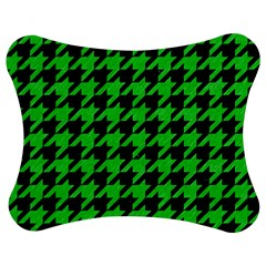 Houndstooth1 Black Marble & Green Colored Pencil Jigsaw Puzzle Photo Stand (bow)