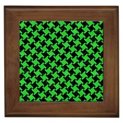 Houndstooth2 Black Marble & Green Colored Pencil Framed Tiles