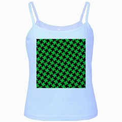 Houndstooth2 Black Marble & Green Colored Pencil Baby Blue Spaghetti Tank