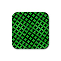 Houndstooth2 Black Marble & Green Colored Pencil Rubber Coaster (square)