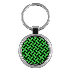Houndstooth2 Black Marble & Green Colored Pencil Key Chains (round)