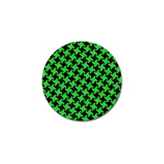 Houndstooth2 Black Marble & Green Colored Pencil Golf Ball Marker (4 Pack)