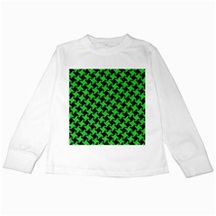 Houndstooth2 Black Marble & Green Colored Pencil Kids Long Sleeve T Shirts