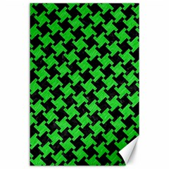 Houndstooth2 Black Marble & Green Colored Pencil Canvas 24  X 36