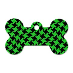 Houndstooth2 Black Marble & Green Colored Pencil Dog Tag Bone (one Side)