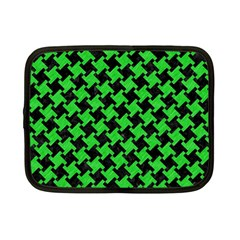 Houndstooth2 Black Marble & Green Colored Pencil Netbook Case (small)