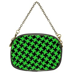 Houndstooth2 Black Marble & Green Colored Pencil Chain Purses (one Side)