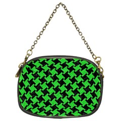 Houndstooth2 Black Marble & Green Colored Pencil Chain Purses (two Sides)
