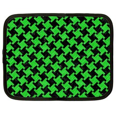 Houndstooth2 Black Marble & Green Colored Pencil Netbook Case (xxl)