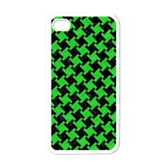 Houndstooth2 Black Marble & Green Colored Pencil Apple Iphone 4 Case (white)