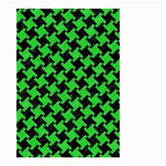 Houndstooth2 Black Marble & Green Colored Pencil Small Garden Flag (two Sides)
