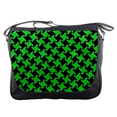 Houndstooth2 Black Marble & Green Colored Pencil Messenger Bags