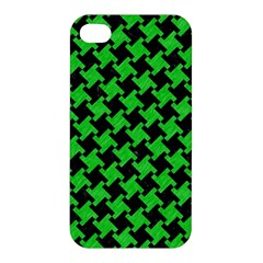 Houndstooth2 Black Marble & Green Colored Pencil Apple Iphone 4/4s Premium Hardshell Case
