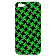 Houndstooth2 Black Marble & Green Colored Pencil Apple Iphone 5 Hardshell Case