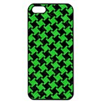 Houndstooth2 Black Marble & Green Colored Pencil Apple iPhone 5 Seamless Case (Black) Front