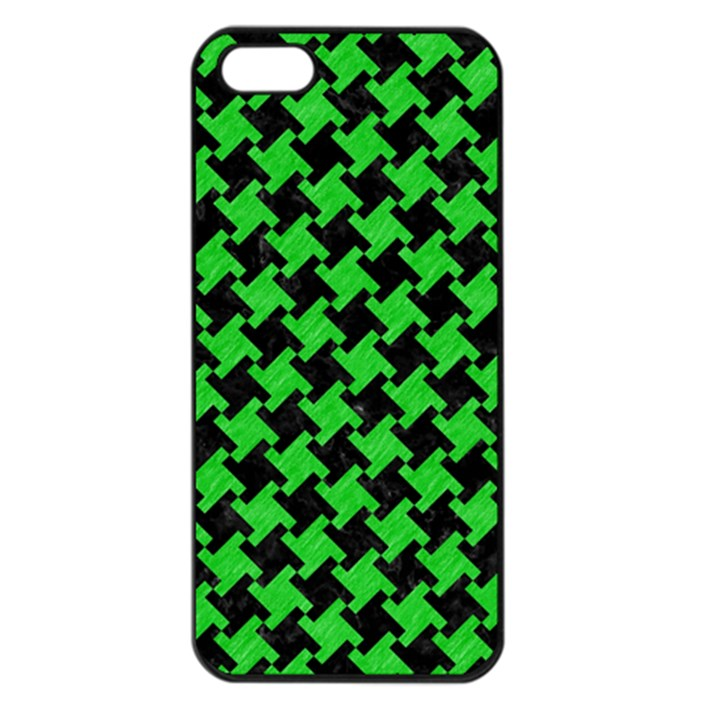 Houndstooth2 Black Marble & Green Colored Pencil Apple iPhone 5 Seamless Case (Black)