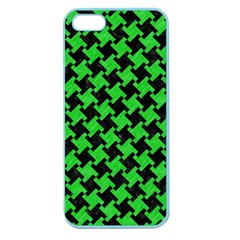 Houndstooth2 Black Marble & Green Colored Pencil Apple Seamless Iphone 5 Case (color)